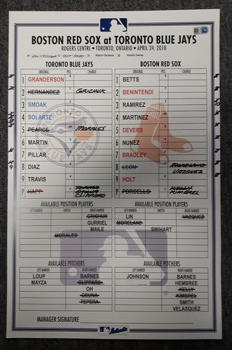 Photo of Authenticated Game Used Line Up Card: April 24, 2018 vs Boston Red Sox: Walk-Off Home Run for Curtis Granderson
