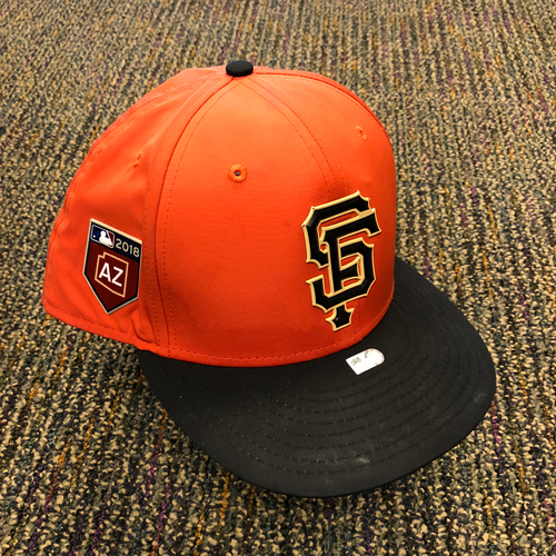 Photo of 2018 San Francisco Giants - 2018 Orange Spring Training Game Used Cap used by #47 Johnny Cueto