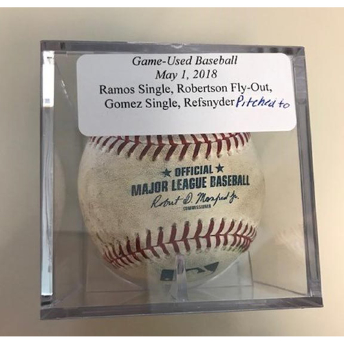 Photo of Game-Used Baseball: Wilson Ramos Single, Daniel Robertson Fly Out, Carlos Gomez Single and Rob Refsnyder (Pitched ball)
