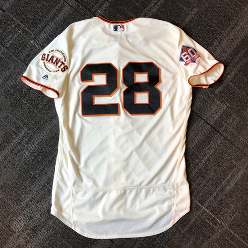 Photo of San Francisco Giants - 2018 Game-Used Jersey worn by #28 Buster Posey - Authenticated for 2 HOME RUNS! . Jersey Size - 46