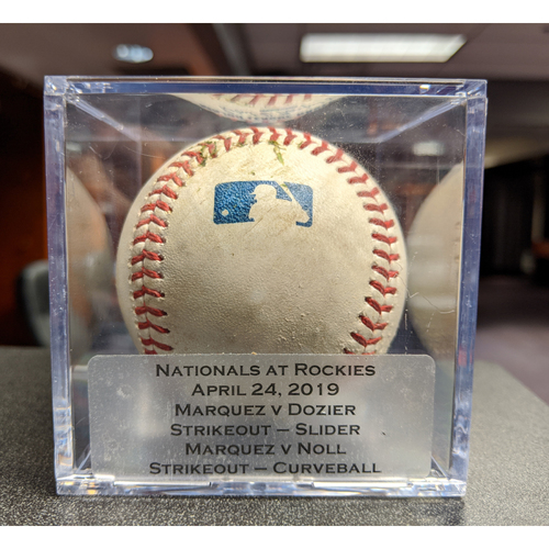 Photo of Colorado Rockies Game-Used Baseball - Pitcher: German Marquez, Batter: Brian Dozier (Strikeout) Pitcher: German Marquez, Batter: Jake Noll (Strikeout) - April 24, 2019 vs Washington Nationals