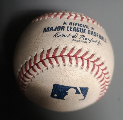 Photo of Authenticated Game Used Baseball - Foul by Rowdy Tellez against J.B. Wendelken (Apr 26, 19 vs OAK). Bottom 8. MLB Debut for Vladimir Guerrero Jr.