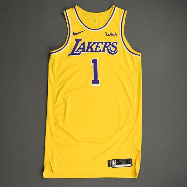 Image of Kentavious Caldwell-Pope - Los Angeles Lakers - NBA China Games - Game-Worn Icon Edition Jersey - 2019-20 NBA Season