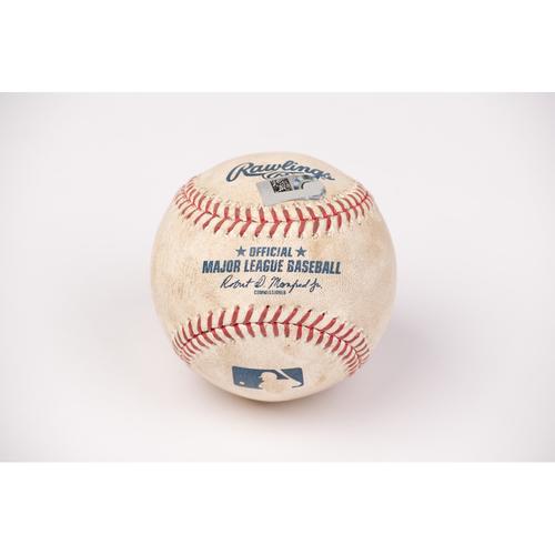 Photo of Game Used Baseball: Pitcher: Julio Teheran, Batter: Edwin Rios - Double - Top 2 - 8-16-2020 vs. LAD