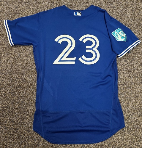 Photo of Authenticated Team Issued 2019 Spring Training Jersey: #23 Dalton Pompey. Size 44