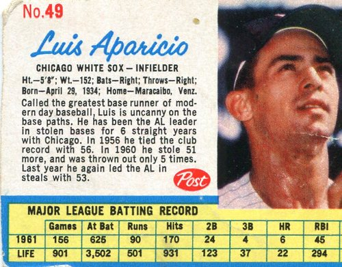 Photo of 1962 Post #49 Luis Aparicio -- Writing on back