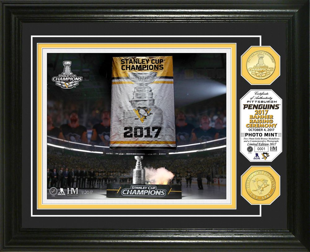 Serial #1! Pittsburgh Penguins 2017 Stanley Cup Champions Banner Raising Photo Mint
