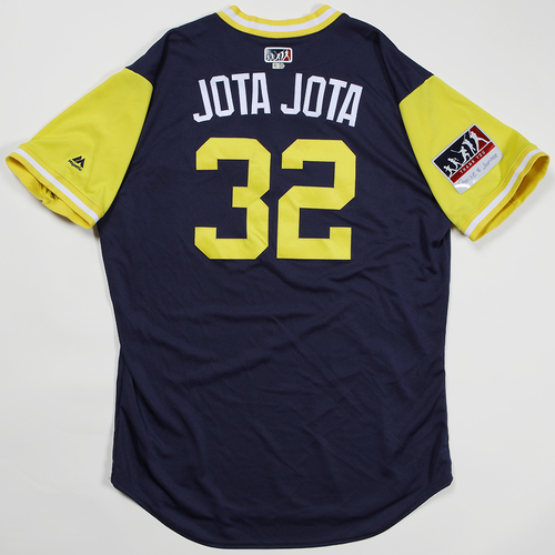 "Photo of Jeremy ""Jota Jota"" Jeffress Milwaukee Brewers Game-Used Jersey 2018 Players' Weekend Jersey"