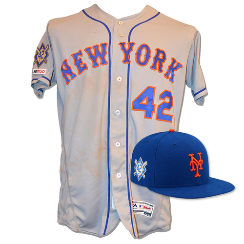 Photo of Amed Rosario - Game Used Road Grey Jackie Robinson #42 Jersey and Hat - Mets vs. Phillies - 4/15/19