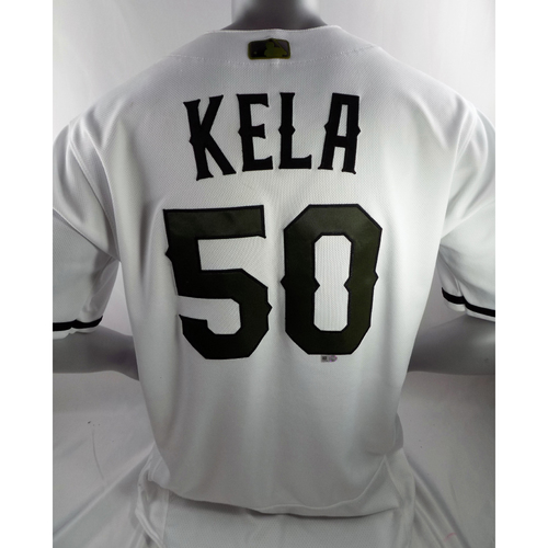 Photo of Game-Used White Memorial Day Jersey - Keone Kela - 5/27/18