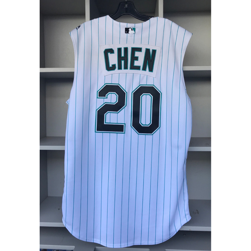 Photo of Game-Used Jersey: Wei-Yin Chen Florida Marlins Throwback Weekend Jersey (Worn 7/26/19-7/28/19) - Size: 46