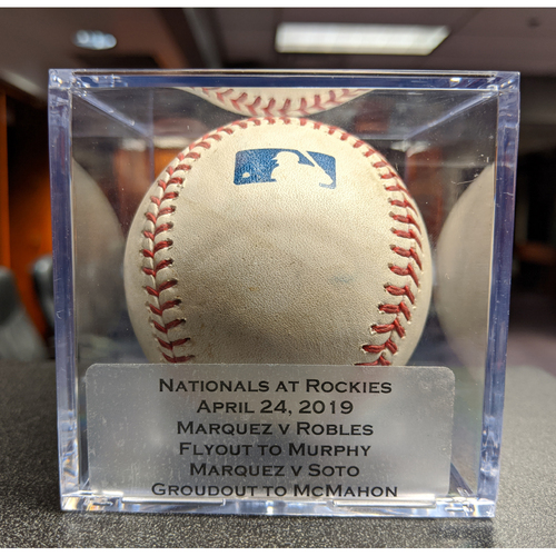 Photo of Colorado Rockies Game-Used Baseball - Pitcher: German Marquez, Batter: Victor Robles (Flyout to Murphy) Pitcher: German Marquez, Batter: Juan Soto (Groundout to McMahon) - April 24, 2019 vs Washington Nationals