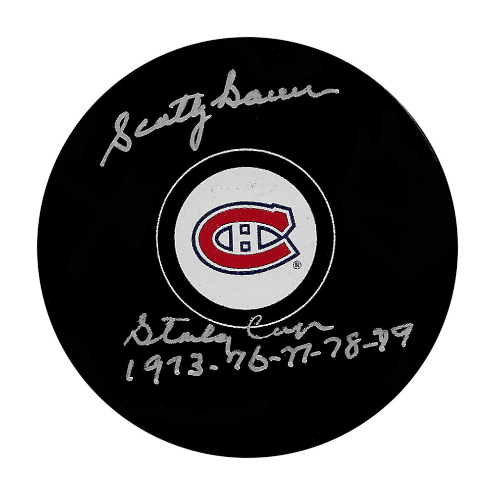 Scotty Bowman Autographed Montreal Canadiens Puck w/Stanley Cups 1973-76-77-78-79 Inscription