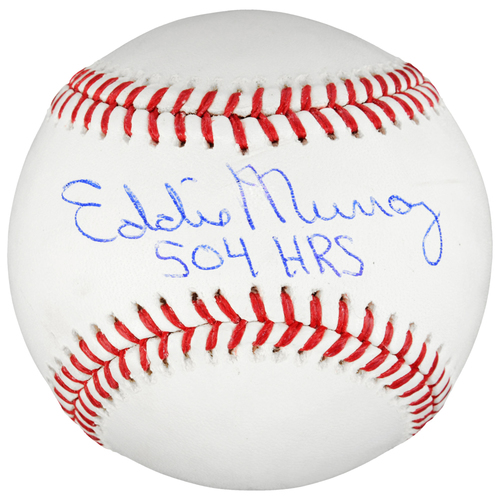 Photo of Eddie Murray Baltimore Orioles Autographed Baseball with 504 HR's Inscription