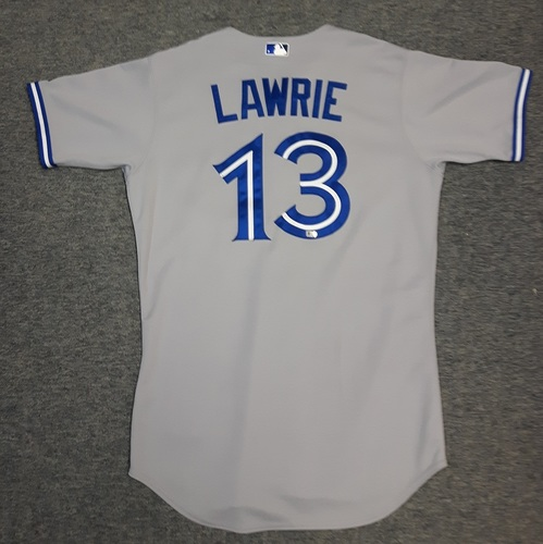 Photo of Authenticated Game Used Jersey - #13 Brett Lawrie (September 6, 2013). Lawrie went 1-for-4 with 1 Run and 2 RBIs. Size 42