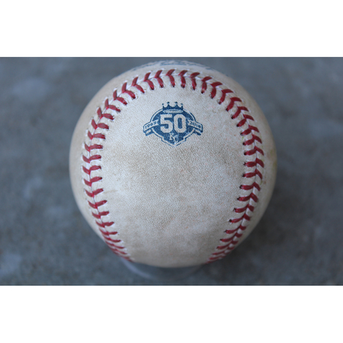 Photo of Game-Used Baseball: Yoan Moncada 75th Career Hit and 36th Career RBI (CWS at KC - 4/28/18 Game 1)