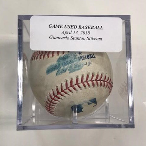 Photo of Game-Used Baseball: Giancarlo Stanton Strikeout