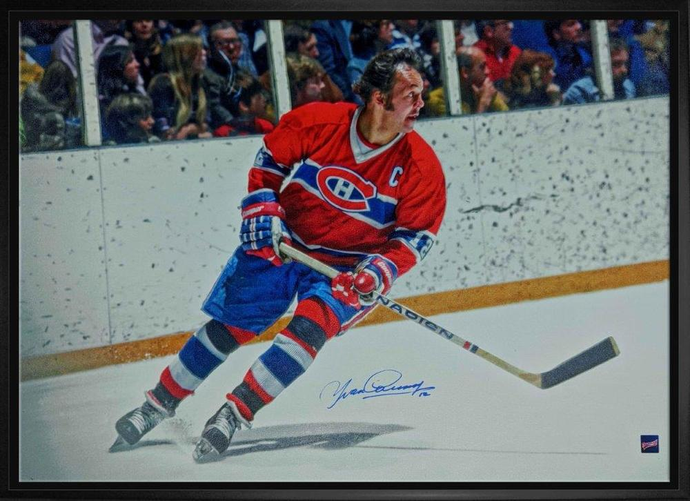 Yvon Cournoyer Signed 20x29 Canvas Framed Canadiens Red Action