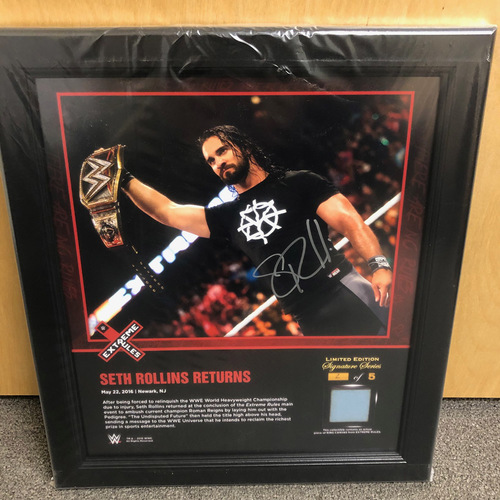 Photo of Seth Rollins SIGNED Extreme Rules 2016 Signature Series Ring Canvas Plaque (#2 of 5)