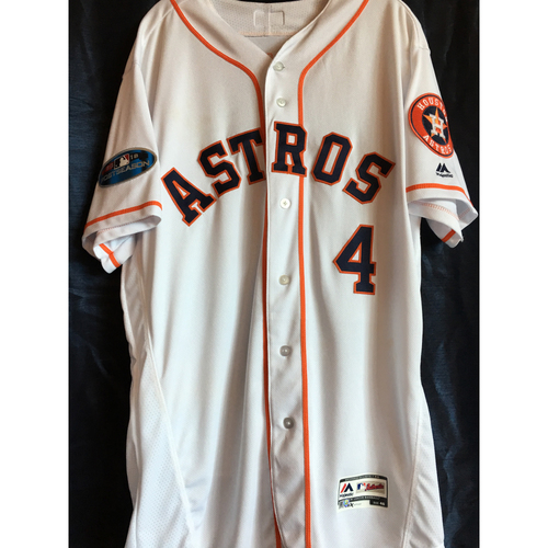Photo of George Springer 2018 ALCS Game 5 Home White Game-Used Jersey (Size 46)