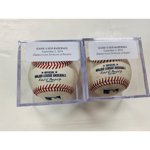 Photo of Game-Used Baseballs: Jordan Zimmermann Strikeout of Eddie Rosario & Max Kepler