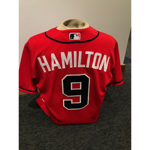 Photo of Billy Hamilton 2019 Atlanta Braves Game-Used Los Bravos Day Jersey