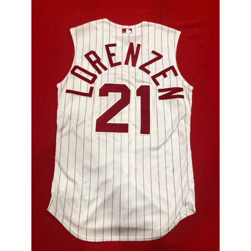Photo of Michael Lorenzen -- Game-Used 1995 Throwback Jersey (Pinch-Hitter: Went 1-for-1, 2B, RBI) -- Recorded First Career Walk-Off Hit with Game-Winning Double in 9th Inning -- D-backs vs. Reds on Sept. 8, 2019 -- Jersey Size 42