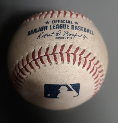 Photo of Authenticated Game Used Baseball - Ball by Ken Giles to Khris Davis (Apr 26, 19 vs OAK). Top 9. MLB Debut for Vladimir Guerrero Jr.