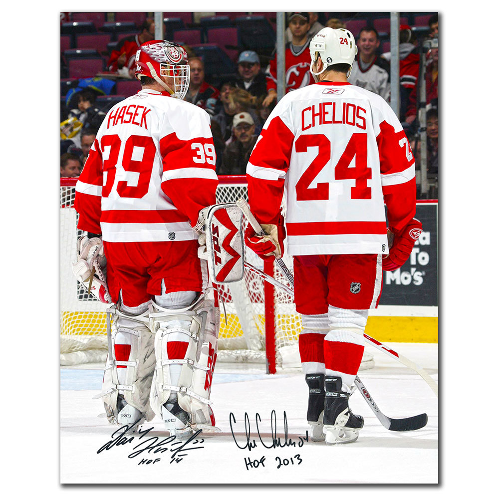 Dominik Hasek & Chris Chelios Detroit Red Wings Dual Autographed 16x20