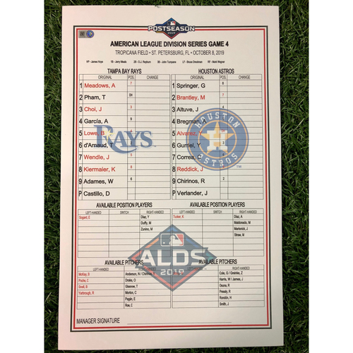 Photo of ALDS Game 4 Replica Lineup Card: Blake Snell First Career Save, Ryan Yarbrough (W, 2.0IP) and Tommy Pham (1), Willy Adames (2), Robinson Chirinos (1) Home Runs - October 8, 2019 v HOU