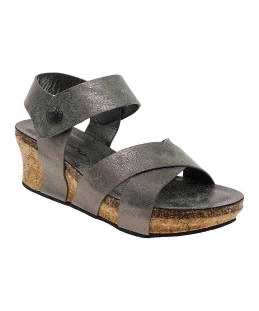 Photo of Pierre Dumas Loop-Heel Snap Wedge Sandal