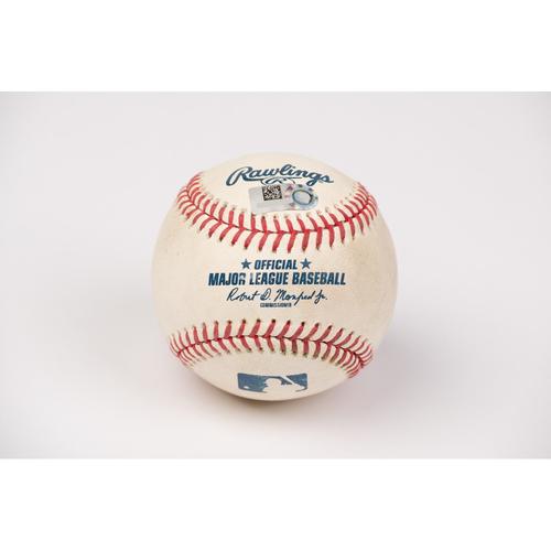 Photo of Game Used Baseball: Pitcher: Trevor Gott, Batters: David Fletcher (Single), Tommy La Stella (2-Run Walk Off HR) - Bot 9 - 8-17-2020 vs. SF