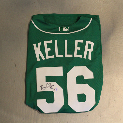 Photo of Autographed 2020 St. Patrick's Day Jersey: Brad Keller #56 (Size 50)