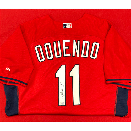 Photo of Jose Oquendo Autographed Team Issued Batting Practice Jersey (Size 50)