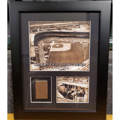 Photo of Framed Piece of Crosley Field Dugout Bench (Number 50 of 150)