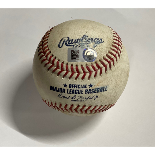 Photo of Game Used Baseball - 8/11/2020 - Cubs at Indians - Carlos Santana Double off Jon Lester
