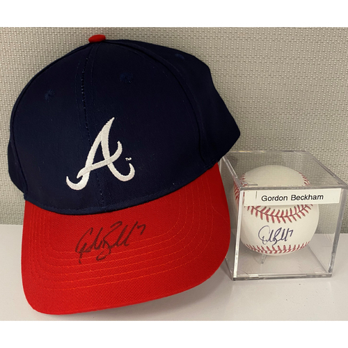 Photo of Gordon Beckham Autographed Baseball and Hat Combo