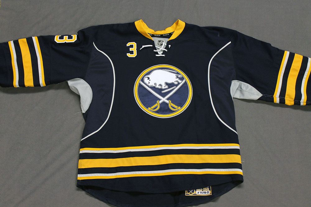 Mark Pysyk Game Worn Buffalo Sabres Home Jersey.  Serial: 1170-2. Set 2 - Size 56.  2013-14 season.