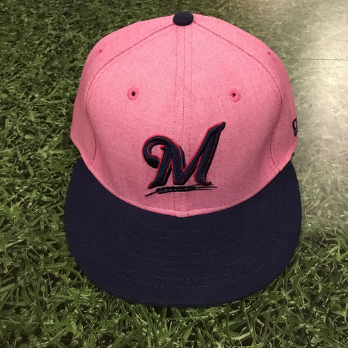 Photo of Christian Yelich Game-Used 2018 Mother's Day Cap - 2-5, 2B, 2 RBI