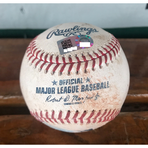 Photo of Cardinals Authentics: Game-Used Ball Pitched by Shane Carle to Jedd Gyorko, Harrison Bader, Kolten Wong, Francisco Pena *Single, Strikeout, Double, Ball in Dirt*