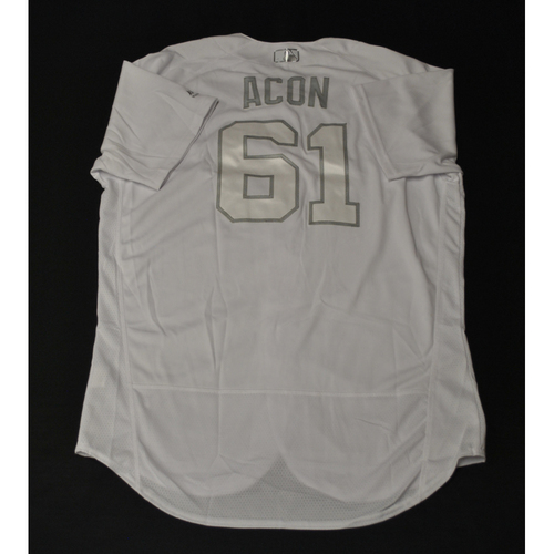 "Photo of Adam ""ACON"" Conley Miami Marlins Game-Used 2019 Players' Weekend Jersey"