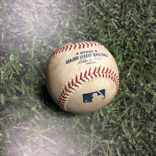 Photo of Game Used Baseball NYM@MIL 07/06/13 - Shaun Marcum - Yovani Gallardo: Double