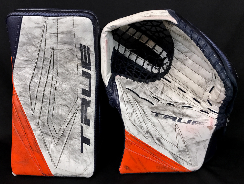 Mike Smith #41 - Autographed 2020-21 Edmonton Oilers Used TRUE Goalie Trapper & Blocker - Photo-matched To NHL Play-offs Game Action