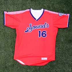 Photo of #16 Game Worn Red Jersey, Size 46, worn by Christian Yelich.