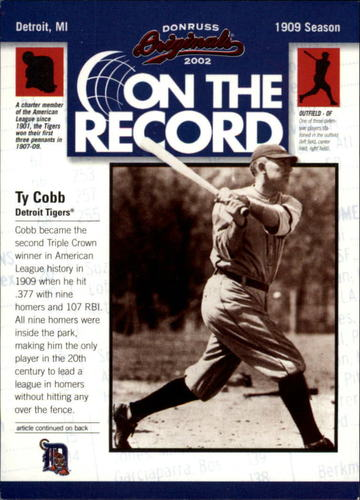 Photo of 2002 Donruss Originals On The Record #1 Ty Cobb HR 9