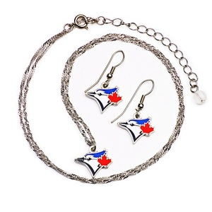 Toronto Blue Jays Earrings And Necklace Combo Set by PSG
