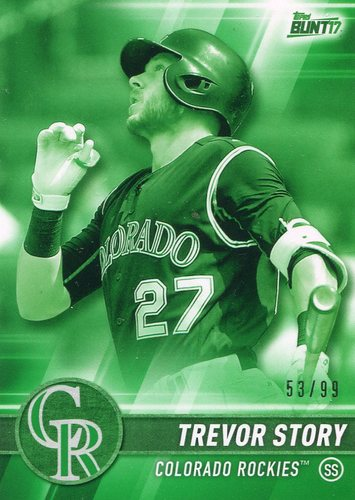 Photo of 2017 Topps Bunt Green #49 Trevor Story 53/99 -- Rockies post-season