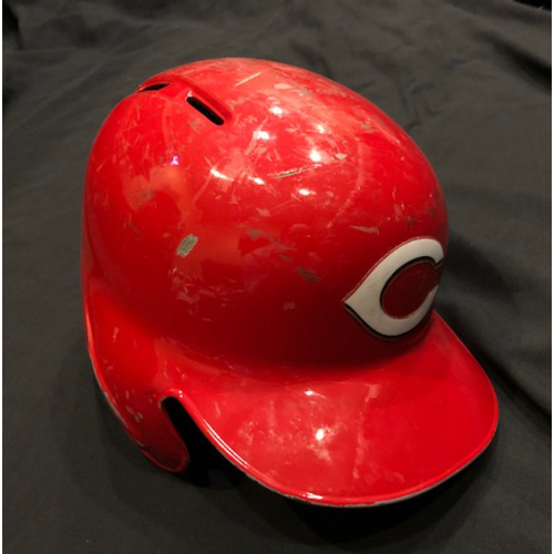 Photo of Scott Schebler -- Game-Used Helmet -- Used For Entire 2017 Season -- Authenticated on Opening Day & Final Game of 2017
