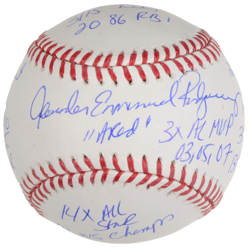 Photo of Alex Rodriguez New York Yankees Autographed Baseball with Career Stats Inscriptions - #13 of L.E. of 13