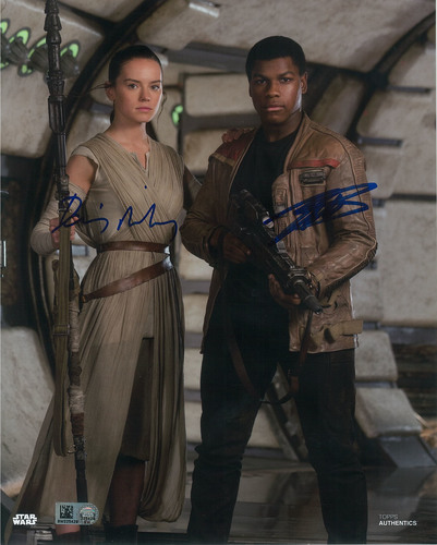 Daisy Ridley as Rey and John Boyega 8x10 Dual Autographed in Blue Ink Photo